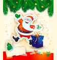 christmas background with happy santa gift and vector image