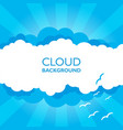 clouds in the sky with sun rays flat in cartoon vector image vector image