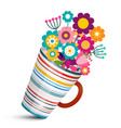 colorful flowers in cup vector image vector image
