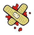 comic cartoon bloody medical plaster vector image vector image
