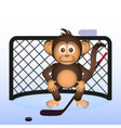 Cute chimpanzee playing ice hockey sport little