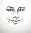 Facial expression hand-drawn of face of a smiling vector image vector image