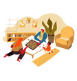family playing board game evening fun at home vector image