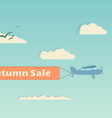 Flying plane with autumn banner vector image vector image