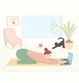 girl practices yoga with laptop vector image vector image