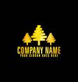 golden trees emblem with black background vector image vector image