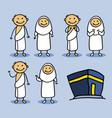 hajj pilgrimage stick character vector image vector image