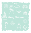 hand drawn of white christmas icons elements in vector image vector image