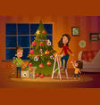 happy family mom and two children dresses up vector image