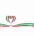 italian flag heart-shaped ribbon vector image