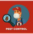 pest control promotional poster with worker vector image