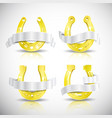 realistic gold horseshoe icon set vector image vector image