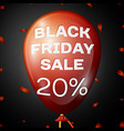 red balloon with text black friday sale twenty vector image vector image