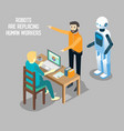 robot vs human labor isometric vector image vector image