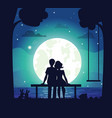 romantic couple sitting on seaside under moonlight vector image
