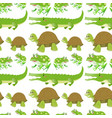 seamless background with crocodiles and turtles vector image vector image