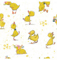 seamless pattern with little duckling vector image