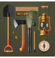 set camping hiking equipment vector image