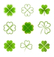 set clovers with four and three leaves vector image