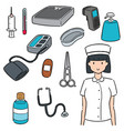set nurse and medical equipment vector image