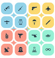 set of 16 simple terror icons can be found such vector image vector image