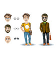 set of character of a man and a boy with facial vector image