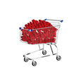 shopping cart with sale symbol inside vector image vector image