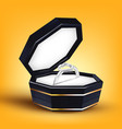 silver ring with shape of heart in box vector image