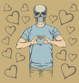skull valentine day concept vector image vector image