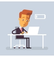 Tired businessman is sitting at the desk vector image