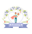 wedding bride in grooms hands vector image vector image