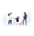 winter outdoor activity family build snowmen vector image vector image