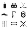 winter sport icons set simple style vector image vector image