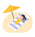 young woman relaxing on beach vector image vector image