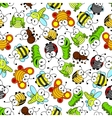 Colorful cartoon funny insects seamless pattern vector image