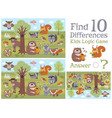 find differences educational kids game with forest vector image