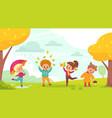 autumn park walking happy kids play outdoor vector image