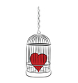 cage with red heart vector image vector image
