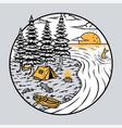 camping lake vector image