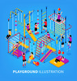 children playground isometric background vector image