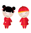 Chinese Girl-Boy Greetings vector image vector image
