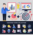 coaching icons set vector image vector image