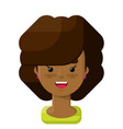 curly brown hair girl flat icon vector image
