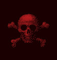 digital skull and crossbones on binary code vector image vector image
