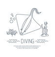 Diving icon with Stingray and bubbles vector image vector image
