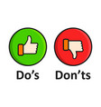 dos and donts sign icon in flat style like unlike vector image vector image