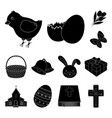 easter is a christian holiday black icons in set vector image