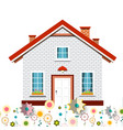 family house with flowers design vector image vector image