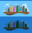 flat design city at night vector image