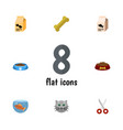 flat icon pets set of shears cat eatin vector image vector image